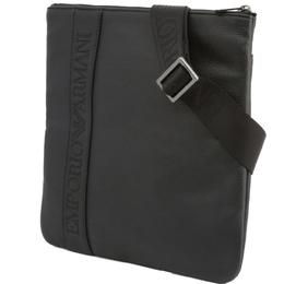 Emporio Armani Black Faux Leather Messenger Bag 236382