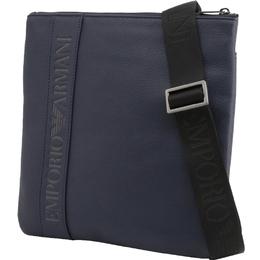 Emporio Armani Blue Faux Leather Messenger Bag 236383