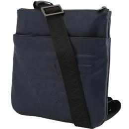 Emporio Armani Blue Faux Leather Messenger Bag 236380