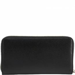 Emporio Armani Black Faux Leather Zip Around Wallet 236389