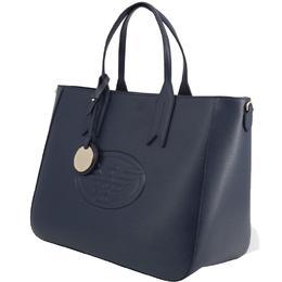 Emporio Armani Blue Faux Leather Shopping Tote 236396
