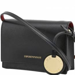 Emporio Armani Black Faux Leather Crossbody Bag 236399