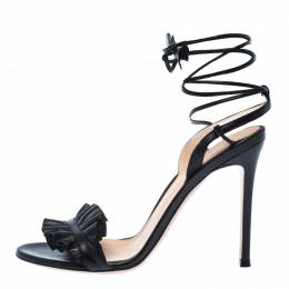 Gianvito Rossi Black Leather Ruffled Ankle Wrap Sandals Sandals 38