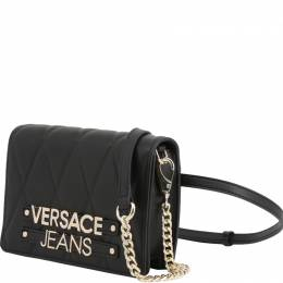 Versace Jeans Black Quilted Faux Leather Crossbody Bag 236721