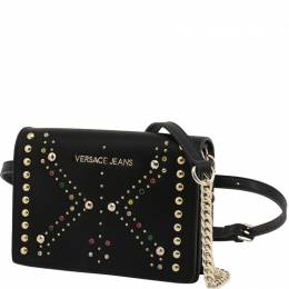 Versace Jeans Black Faux Leather Embellished Crossbody Bag 236722