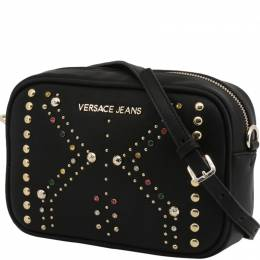 Versace Jeans Black Faux Leather Embellished Crossbody Bag 236723
