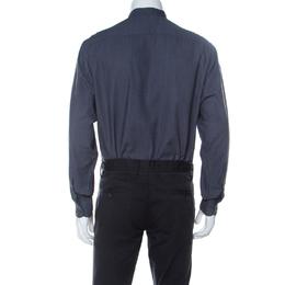 Armani Collezioni Charcoal Grey Woven Mandarin Collar Shirt L 237140