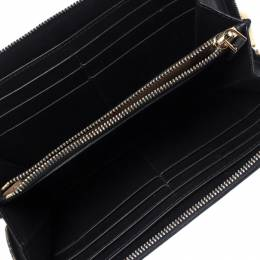Burberry Black Leather Continental Zip Wallet 236923