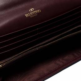 Valentino Burgundy Leather Flap Continental Wallet 236925