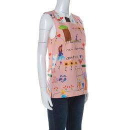 Dolce&Gabbana Pink Crayon Printed Cotton Sleeveless Top XS 236233