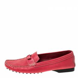 Tod's Pink Leather Buckle Detail Slip On Loafers Size 37.5 Tod's