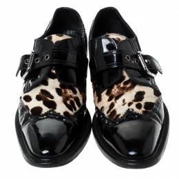 Dolce&Gabbana Black Patent Leather And Leopard Print Pony Hair Monk Strap Derby Size 41 237660