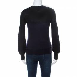 Gianfranco Ferre Black and Navy Blue Colorblock Knit Jumper XS 236044