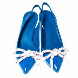 Burberry Blue Patent Leather Fink Slingback Sandals Size 37.5 237409
