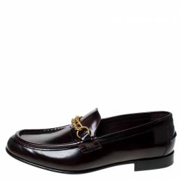 Burberry Burgundy Leather Solway Slip On Loafers Size 44