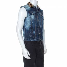 Dsquared2 Blue Denim Distressed Detail Horsehair Collar Vest Jacket M 235923