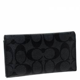 Coach Grey Signature Coated Canvas Long Bifold Wallet 236219