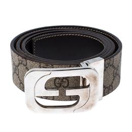 Gucci Brown/Beige GG Supreme Coated Canvas Interlocking G Reversible Belt 100CM 235259