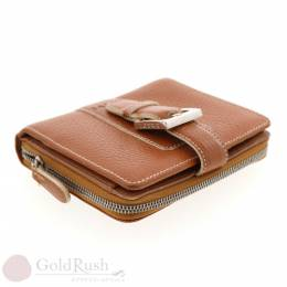Loewe Brown Embossed Leather Compact Wallet 237307