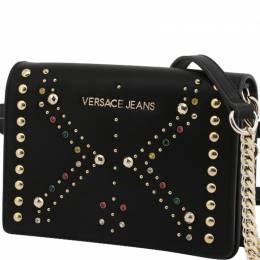 Versace Jeans Black Faux Leather Embellished Crossbody Bag 236683
