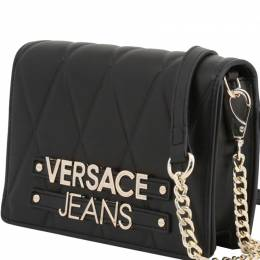 Versace Jeans Black Quilted Faux Leather Crossbody Bag 236682