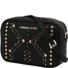 Versace Jeans Black Faux Leather Embellished Crossbody Bag 236684