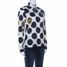 Kenzo White and Blue Dots And Logo Cotton Shirt M 236209