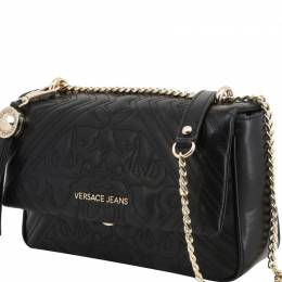 Versace Jeans Black Quilted Faux Leather Shoulder Bag 236667
