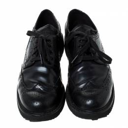 Prada Black Brogue Leather Lace Up Derby Sneakers Size 41 237540