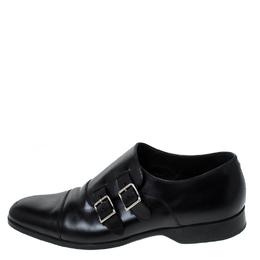 Ralph Lauren Black Leather Double Strap Monk Oxfords Size 42 237655
