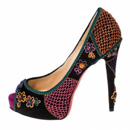 Christian Louboutin Multicolor Floral Satin Applique Peep Toe Pumps Size 40 237256