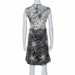Diane Von Furstenberg Monochrome Printed Wool and Silk Blend Madyson Dress L 237255