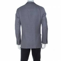 Ermenegildo Zegna Bicolor Houndstooth Wool and Silk Blend Blazer L 236878