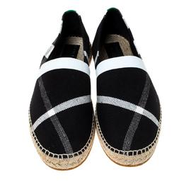 Burberry Black Canvas Check Pateman Slip On Espadrille Loafers Size 43 237431