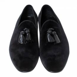 Burberry Black Velvet Tassel Slip On Loafers Size 45.5 237435