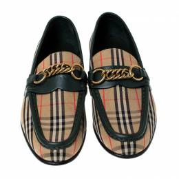 Burberry Green Leather And Beige Check Canvas Moorley Loafers Size 36.5 237434