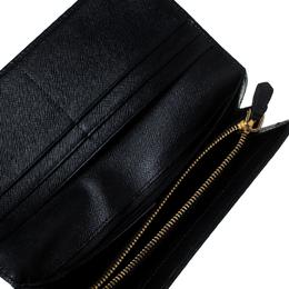 Prada Black Saffiano Lux Leather Continental Wallet 236612