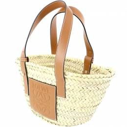 Loewe Beige/ Brown Straw and Leather Basket Bag 237328