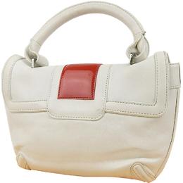 Loewe White/Red Nappa Leather Top Handle Bag
