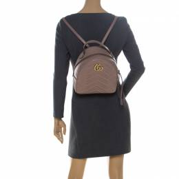 Gucci Beige Matelasse Leather GG Marmont Backpack 237225