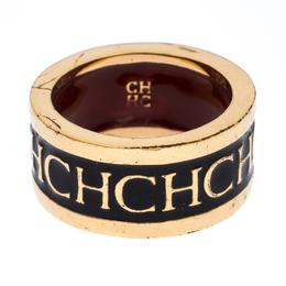 Ch Carolina Herrera Logo Black Enamel Gold Tone Band Ring 56 236641