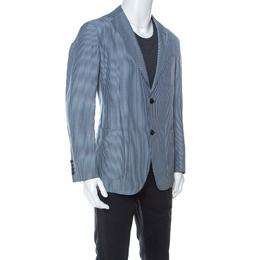 Ermenegildo Zegna Blue Striped Linen and Silk Blend Light Blazer L 237137