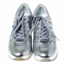 Dolce&Gabbana Metallic Silver Leather Lace Up Sneakers Size 36.5 234490