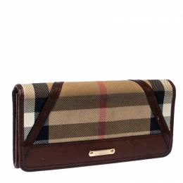 Burberry Beige/Brown House Check Fabric and Leather Leighton Continental Wallet 236251
