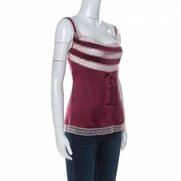 Red Valentino Maroon Stretch Silk Lace Camisole M 236740