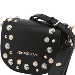 Versace Jeans Black Faux Leather Embellished Crossbody Bag 236676