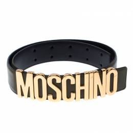 Moschino Olive Green Leather Logo Belt 85CM