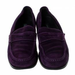 Dsquared2 Purple Suede Penny Loafers Size 40.5 237590