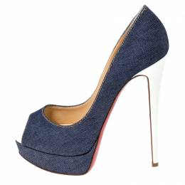 Christian Louboutin Blue Denim Peep Toe Platform Pumps Size 40 237378