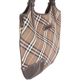 Burberry Brown Blue Label Canvas Leather Check Shoulder Bag 237367